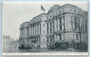 Postcard NJ Newark New City Hall Cowperthwait Van Horn Delivery Wagons U9