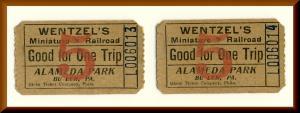 2 Wentzel's Miniature Railroad Tickets, Alameda Park, Butler, Penn/PA, 1940's?