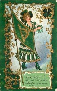 Artist impression C-1910 St Patrick Ireland Shamrock Flag girl Postcard 20-549