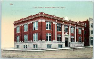 Bartlesville, Oklahoma Postcard ELKS HOME B.P.O.E. Lodge Building 1913 Cancel