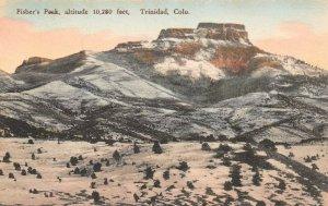 LPS97 Trinidad Colorado Fisher's Peak Hand Colored Postcard Albertype