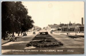 Emmetsburg IA~Train Depot~RR Crossing~Esplanade Blvd~Downtown Approach~RPPC 1937