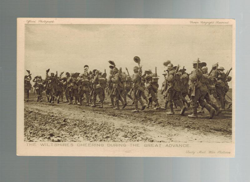 Mint WW 1 England British Army Postcard Wiltshires Regiment Marching Daily Mail