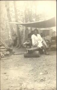 Black Americana - Woman Camping - Real Photo Postcard