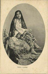 malay malaysia, Beautiful Native Malay Girl (1910s) Postcard