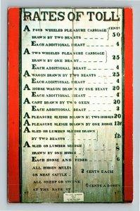Bennington VT-Vermont Museum, 1814 Tollgate Sign Board, Chrome c1970 Postcard