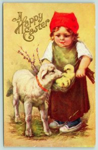 Easter~Little Country Girl Shows off Chicks in Apron to Lil Lamb~Embossed~1908