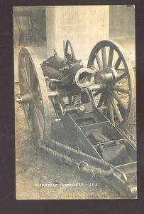RPPC MOUNTAIN ARTILLERY US ARMY WWI WORLD WAR 1 CANNON REAL PHOTO POSTCARD