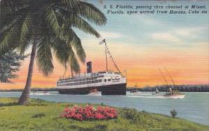 P & O Steamer S S Florida Passing Through Channel At Miami Upon Arrival From ...