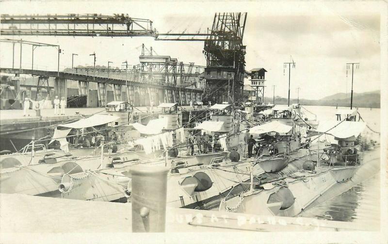 US Submarines At Balboa Canal Zone Real Photo Postcard