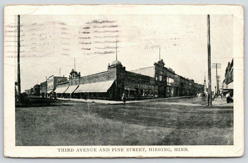 Hibbing Minnesota~Third Avenue & Pine Street Corner~1910 B&W Postcard