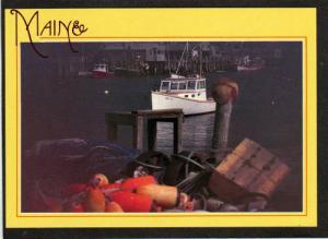 ME Fishing Boats Harbor in NEW HARBOR MAINE Postcard