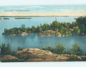 Divided-Back WATER SCENE Stave Island - Thousand Islands New York NY hk2989
