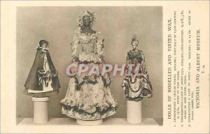 Postcard Old Dolls ef Modeled tinted wax and London Victoria and Albert Museum
