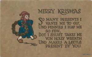 Arts Crafts Dutch Girl Christmas Saying C-1910 postcard 7331