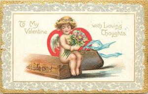 Valentine~Girl Cupid Has Bag~Trunk Packed~Bouquet~Red Heart~Gold~Emb~TUCK~No 1