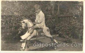 Child Children with Rocking Horse Postcard Post Card Unused