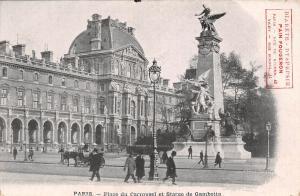 France Paris - Place du Carrousel et Statue de Gambetta CPA
