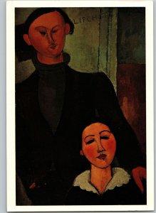 Jacques Lipschitz & His Wife 1916 Amedeo Modigliani Art Chicago Vintage Postcard