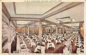 B & M CAFETERIA Los Angeles, CA Restaurant Interior ca 1920s Vintage Postcard