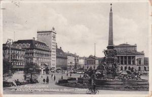 Germany Leipzig Augustusplatz Mit Mendebrunnen Hochhaus und Nuern Theatre