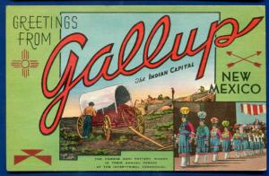 Greetings Gallup New Mexico nm large letters letter linen postcard #2