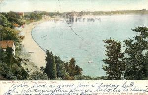 New Haven Connecticut~Morris Cove~Beach~Dock~Cabins~1906 Postcard