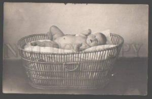 098318 NUDE Baby BOY in Basket Vintage REAL PHOTO