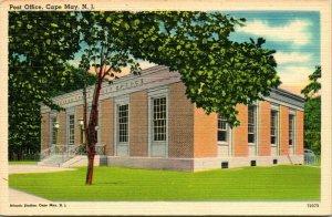 Vtg Linen Postcard - Post Office Building - Cape May New Jersey NJ - UNP
