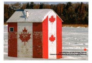 Ice Fishing Hut, Lake Scugog, Ontario, Maple Leaves, Large 5 X 7 Inch Postcard