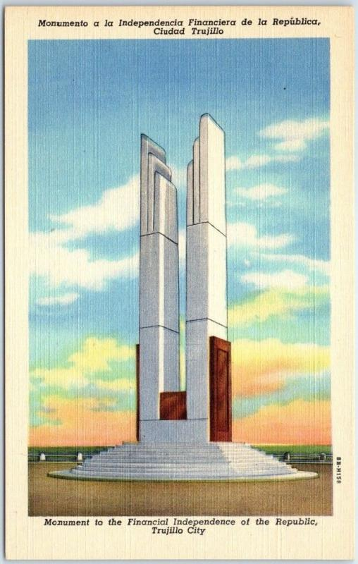 Trujillo City D.R. Postcard Monument to Financial Independence Linen c1940s