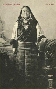 bhutan, Native Bhutia Girl, Jewelry Necklace (1910s) Postcard