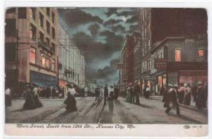 Main Street at Night Kansas City Missouri 1910c postcard