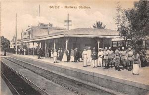 Egypt Suez - Railway Station, Rail, Postcard