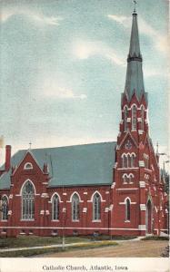 Atlantic Iowa~Catholic Church w Tall Steeple & Stained Glass Windows~c1910 PC