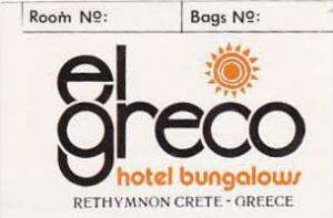 GREECE CRETE RETHYMNON EL GRECO HOTEL BUNGALOWS VINTAGE LUGGAGE LABEL