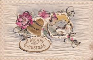 Christmas Landscape Scene With Bells and Flowers