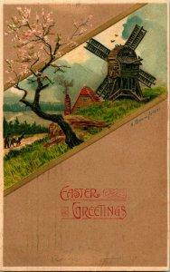 1908 Postkarte Künstler Unterzeichnet Ein Bramfelder Easter Grüße Alt Windmill