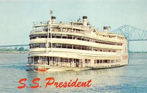 New Orleans Louisiana~SS President Sightseeing Steamer~Mississippi River~1960s