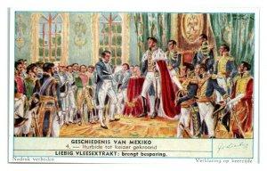 Iturbide Crowned Emperor, History of Mexico Liebig Belgian Trade Card *VT28D