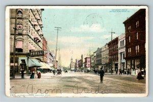 Saginaw MI-Michigan, Genesee Avenue, Victorian Shoppers, Vintage c1908 Postcard