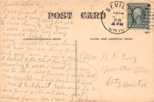 F27/ Seville Creston Ohio Postcard 1914 Jackson Presbyterian Church Fire