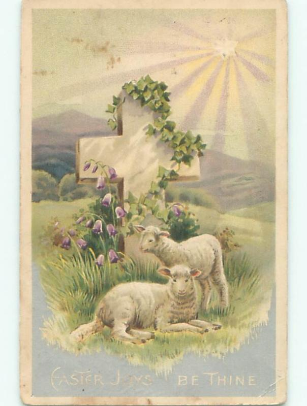 Pre-Linen easter religious STARLIGHT SHINES ON BABY LAMBS BY JESUS CROSS W7373