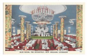 The Blue Room Roosevelt Hotel New Orleans LA Waldorf Astoria Vintage Postcard