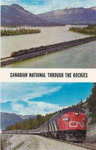 Canadian National Railways, Modern Trains Skirt The Bases Of Great Peaks & Th...