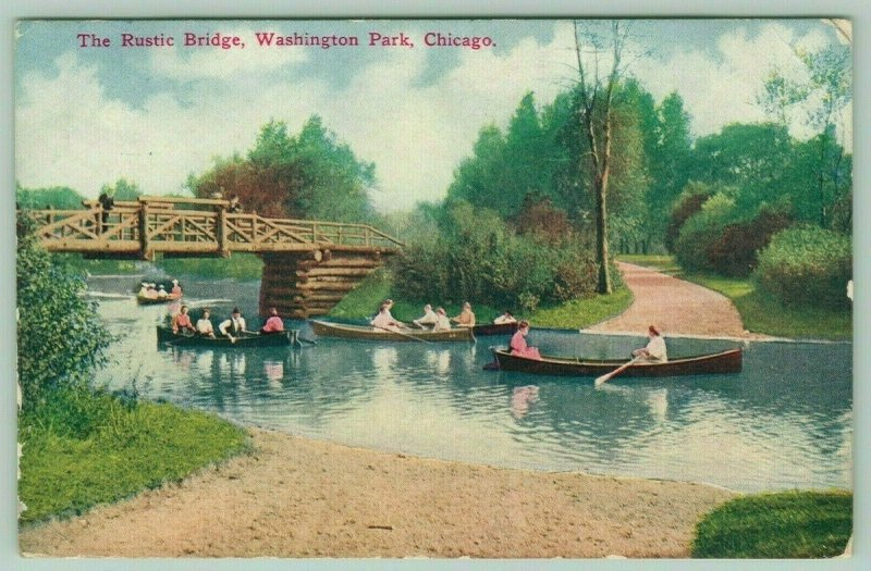Chicago~Canal in Washington Park~Rustic Bridge~Mostly Ladies in Canoes~c1910 PC