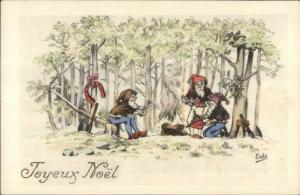 French Christmas - Fantasy Elves Gnomes in Woods ERES c1915 Postcard EXC COND