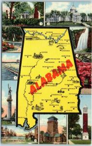 Vintage ALABAMA State Map Postcard Multi-View 10 Scenes Curteich Linen c1940s