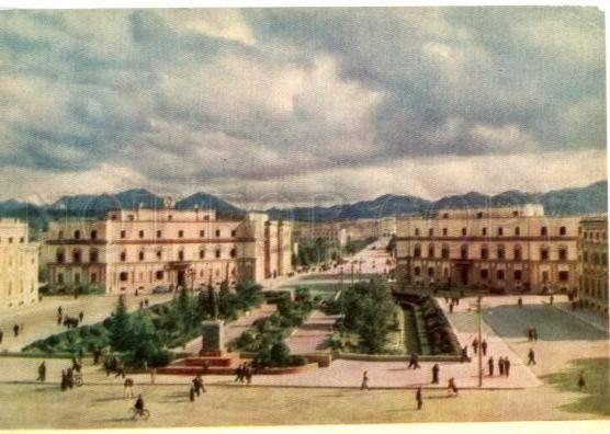 154866 Albania TIRANA Skanderbeg Square old postcard