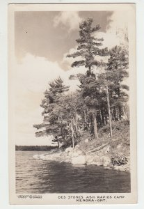 P2016, 1950 RPPC des stone,s ash rapids camp kenora ontario canada with stamp